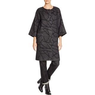Eileen Fisher Womens Petites Coat Wool Blend Round Neck