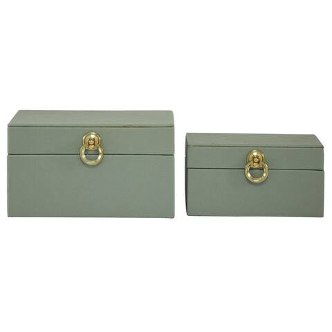 """Grey Faux Shagreen Wood Box With Gold Ring Fixtures Set Of 2 9"""" 11"""" - 11 x 9 x 6"""