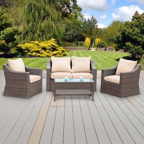 Bonosuki 4 Pieces Outdoor Rattan PE Wicker Furniture Sets