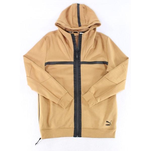 140a40ba Puma NEW Solid Beige Men's Black Size Large L Hooded Full-Zip Jacket