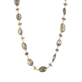 Gold Plated Sterling Silver Oval Labradorite Beaded Necklace