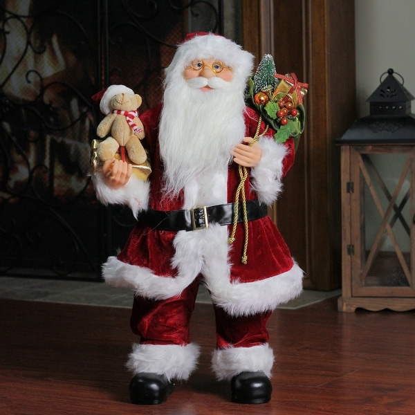 "24"" Traditional Standing Santa Claus Christmas Figure with Teddy Bear and Gift Bag - RED"