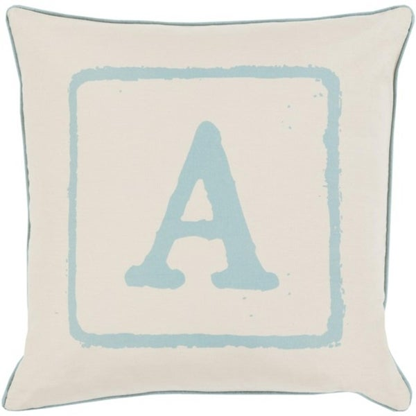 "18"" Beige and Blue ""A"" Big Kid Blocks Decorative Throw Pillow - Down Filler"