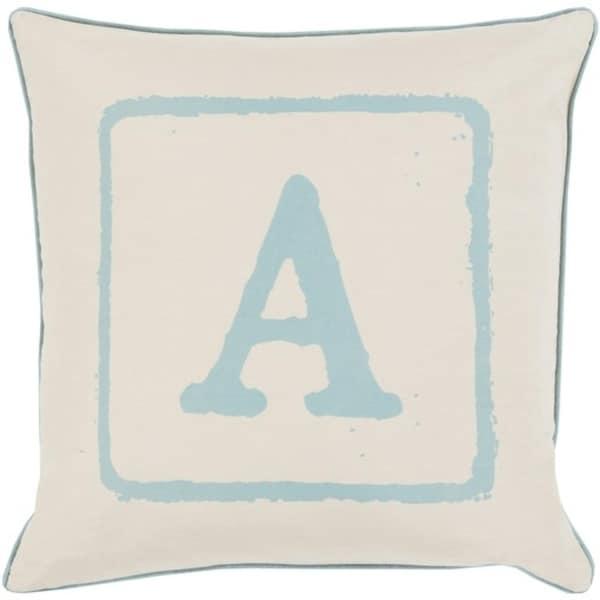 "20"" Beige and Blue ""A"" Big Kid Blocks Decorative Throw Pillow - Down Filler"