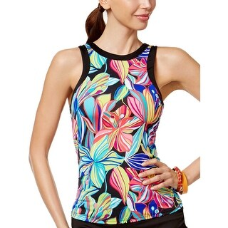 24th and Ocean Womens Palmia Floral High Neck Tankini Top Large L Multi Swimsuit