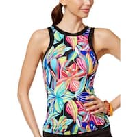24th and Ocean Womens Palmia Floral High Neck Tankini Top Small S Multi Swimsuit