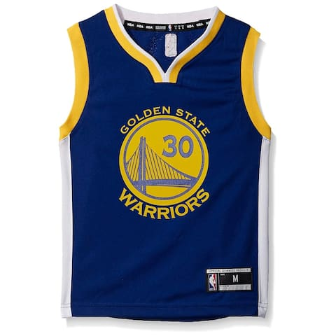 NBA Boys Top Blue Yellow Size 5-6 Golden State Warriors Curry Jersey