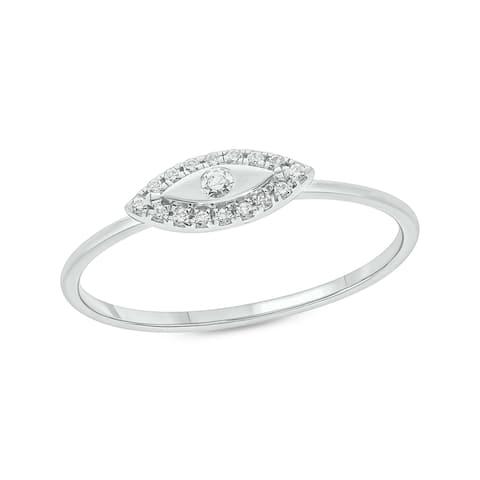 Cali Trove 1/10ct Round White Diamond 14K White Yellow Rose Gold Dainty Evil Eye Ring for Women