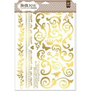 "Gold Filigree - BoBunny Foil Rub-Ons 9""X12.5"""