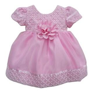 Little Girls Pink Diamond Style Beaded Embroidered Flower Girl Dress 2T-6X