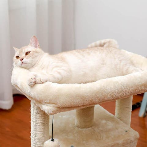 28.4 Inches Small Cat Tree for Indoor Cats Polyester Plush Cat Tower