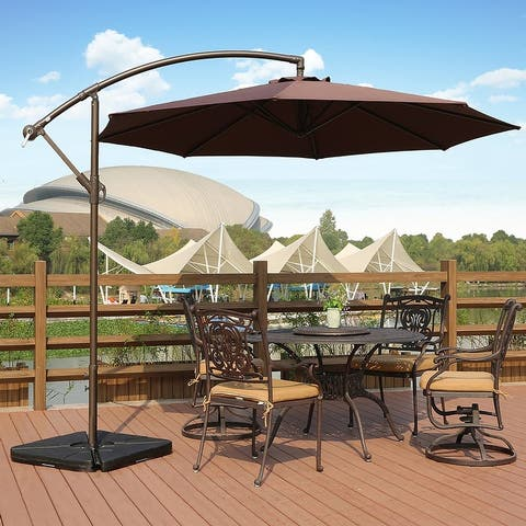 Weller 10-ft. Offset Canopy Umbrella w/ Fillable Base Weights