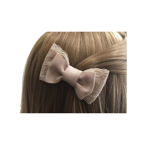Mimos by Tia Girls Pink Grosgrain Lace Bow Embellished Hair Clippie - One Size