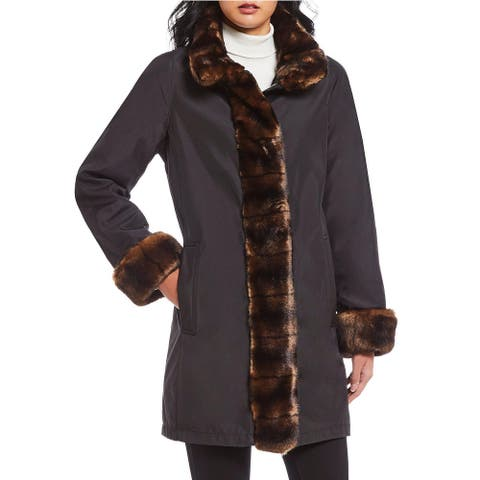 Gallery Womens Coat Black Size Medium M Faux Fur Trimmed Full-Zip