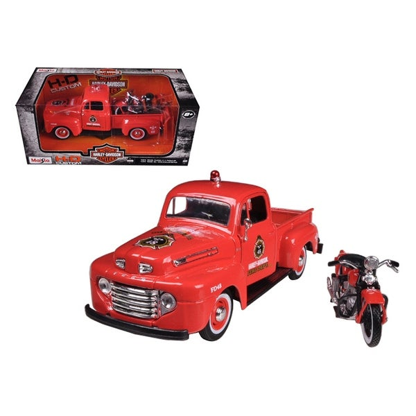 Ford F  Pickup Truck Harley Davidson Fire With  El Knucklehead Harley Davidson