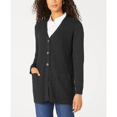 Karen Scott Women's Mixed-Stitch Button-Front Cardigan Black Size Medium