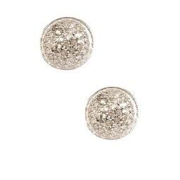 Pave Diamond Studs, Round Studs, Diamond Post Back Earrings - White