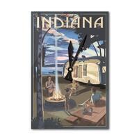 Indiana - Retro Camper & Lake - LP Artwork (Acrylic Wall Clock) - acrylic wall clock