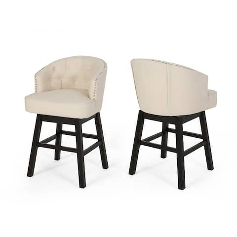 Muireall Fabric Swivel Counter Stools (Set of 2) by Christopher Knight Home