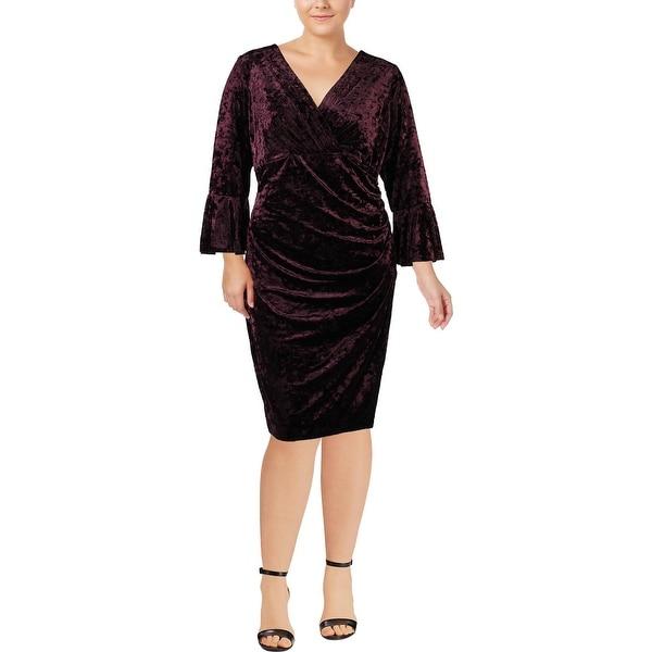 Lauren Ralph Lauren Womens Plus Elsietta Cocktail Dress Velvet Bell Sleeve