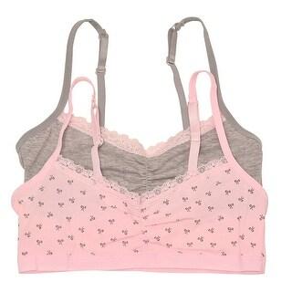 Sweet n Sassy Girls Pink Gray Tiny Tie Print 2 Pc Cami Bra Set