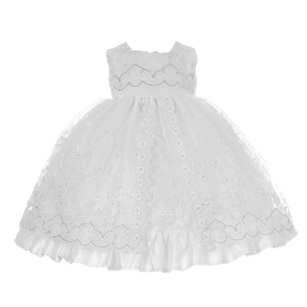 Baby Girls White Sequins Virgin Mary Christening Baptism Cape Dress Set 6-12M