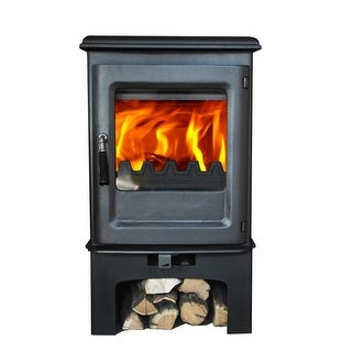 HiFlame Olymberyl HF905UB Small 800 Sq.Feet Wood Burning Stove with Log Stand