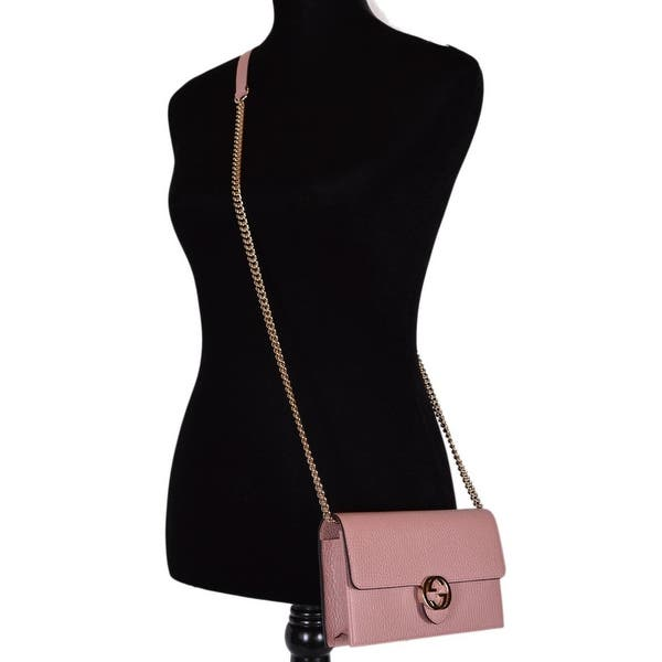 054563304 Gucci 510314 Pink Leather Interlocking GG Crossbody Wallet Bag Purse Clutch  - Soft Pink - 7.5