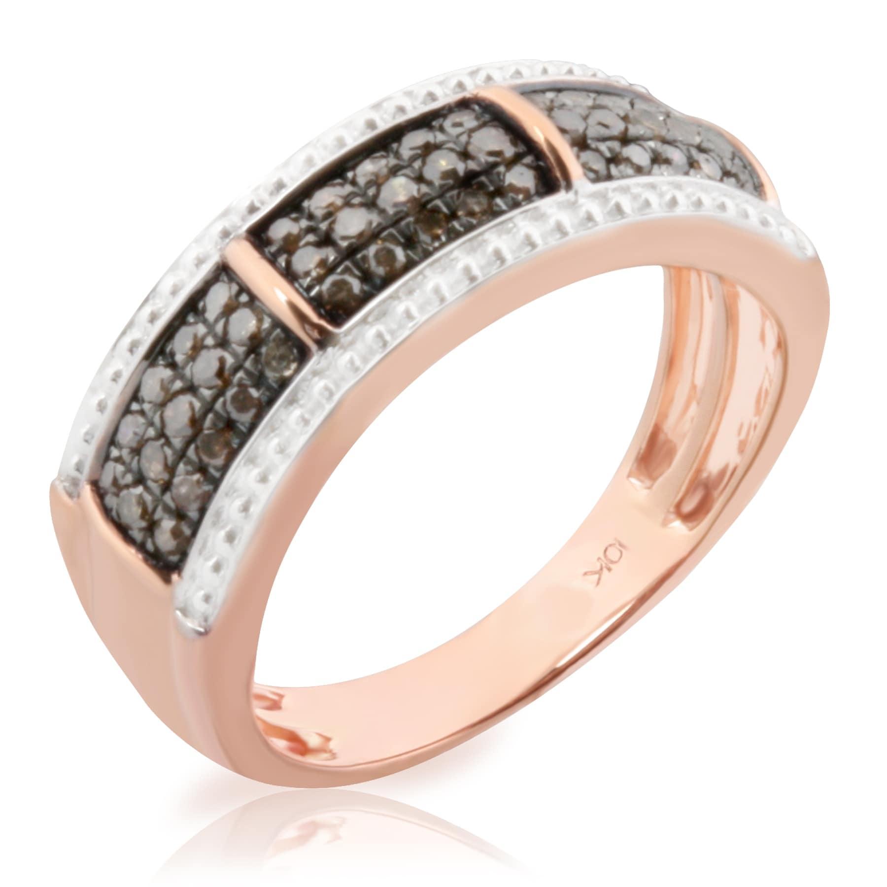 Brand New 0.37 Carat Round Brilliant Cut Real Brown Diamond Anniversary Ring - Thumbnail 0