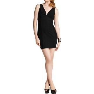 Aqua Womens Little Black Dress Textured Ruched - XS