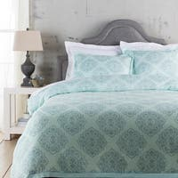 Blue Ashes and Dolphin Gray Decorative Elegance Damask Opulent Twin Duvet