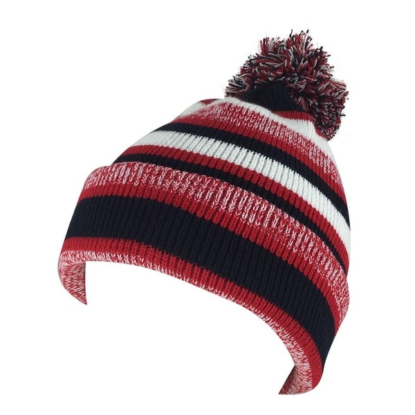 27f766f54d0 Shop Mens Women 3552V Stripe Cuff Knit Pom Beanie Hat - Red Black White -  Free Shipping On Orders Over  45 - Overstock - 18616098