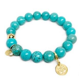 "Turquoise Magnesite Om Gold Charm Emma 7"" Bracelet"