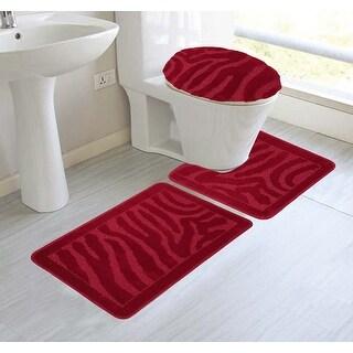 Alexandra 3-Piece Mega Bath Mat Set, Animal Stripe Design, Red
