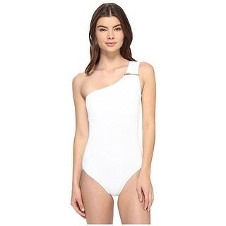 MICHAEL Michael Kors Women's Villa Del Mar Logo Bar One-Shoulder One-Piece SZ. 6