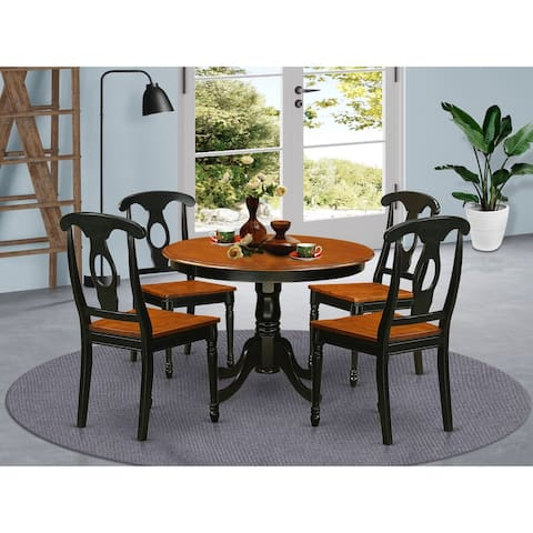 5 Pc set with a Dinette Table and 4 Leather Kitchen Chairs (Finish Option)