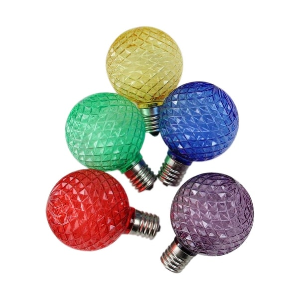 Pack of 25 Faceted LED G50 Multi-Colored Christmas Replacement Bulbs
