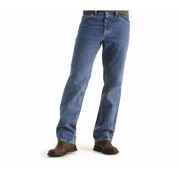 Lee Blue Mens Size 36x34 Relaxed-Fit Solid Straight Leg Jeans