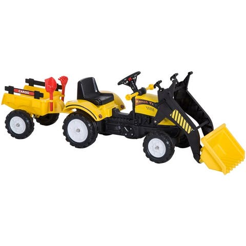 Aosom Ride On Excavator Kids Toy Construction Equipment with Pedal Controls, 6 Wheels, & Controllable Dirt Bucket