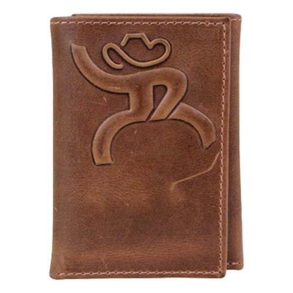 HOOey Western Wallet Mens Roughy Tri-Fold Embossed Chestnut - 4 x 3/4 x 3