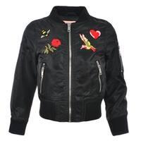 Urban Republic Little Girls Black Embroidered Flight Jacket