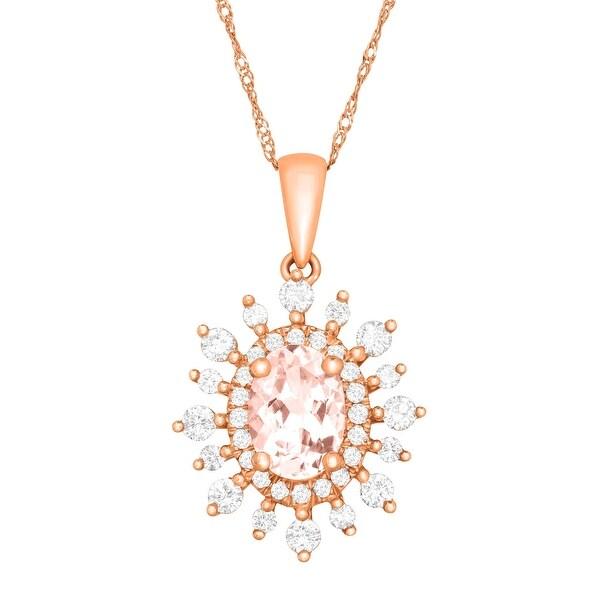 1 1/8 ct Natural Morganite & 3/8 ct Diamond Pendant in 14K Rose Gold - Pink