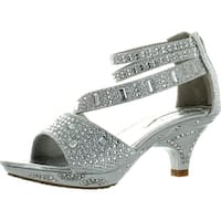 Lucita Girls Dress Shoes Jan-300Km Stunning Rhinestone And Glitter Heels Shoes - Silver