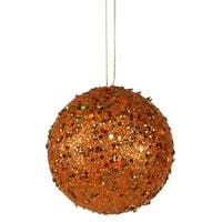 4 in. Fancy Orange Holographic Glitter Drenched Christmas Ball