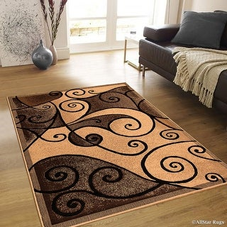 "Allstar Brown Abstract Modern Area Carpet Rug (3' 9"" x 5' 1"")"