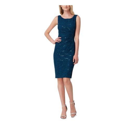 TAHARI Teal Sleeveless Above The Knee Dress 2