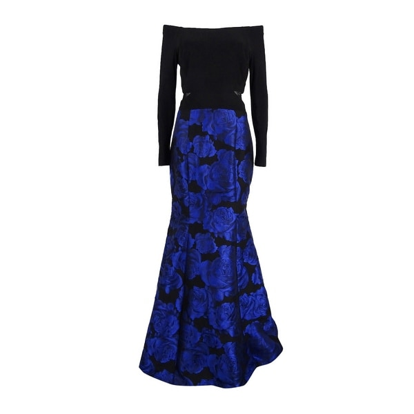 Shop Xscape Women\'s Off the Shoulder Brocade Mermaid Gown (10, Blue ...