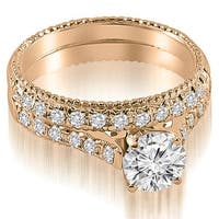 1.30 cttw. 14K Rose Gold Vintage Cathedral Round Cut Diamond Bridal Set