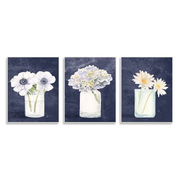 Stupell Industries Farmhouse Flower Bouquets Navy Blue White Painting 3pc Each 10 X 15 Wood Wall Art Overstock 31424849