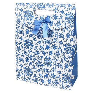 Unique Bargains Fastener Closure Blue Floral Vines Pattern Foldable White Paper Gift Bag